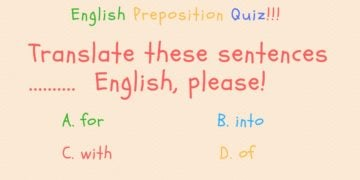 English Preposition Quiz (Part III) 28