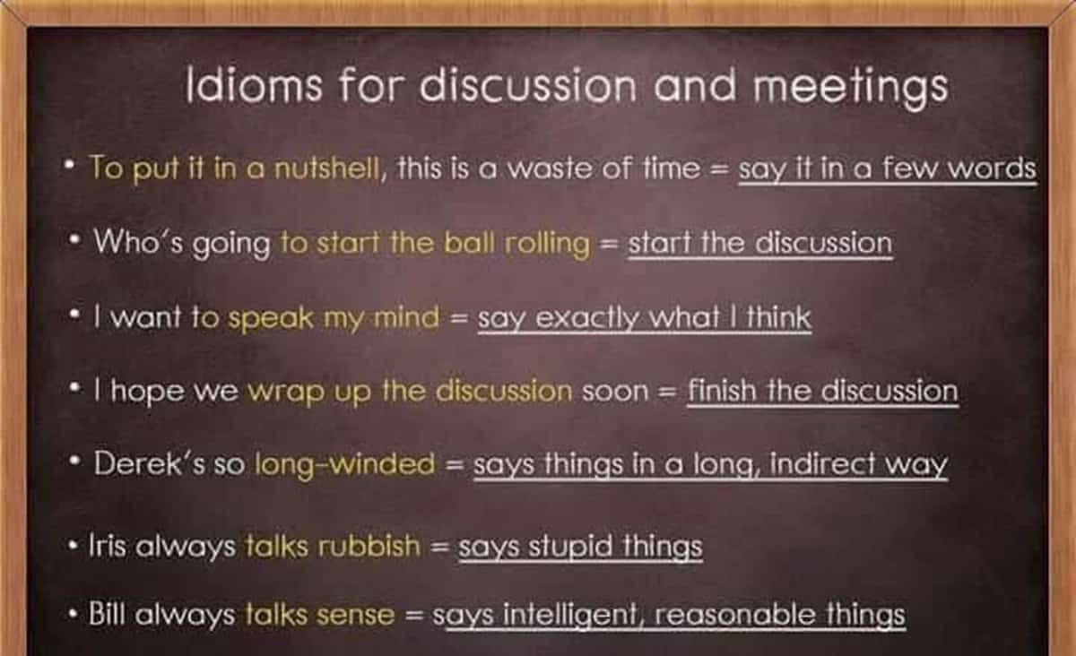 Idioms for Discussion and Meetings