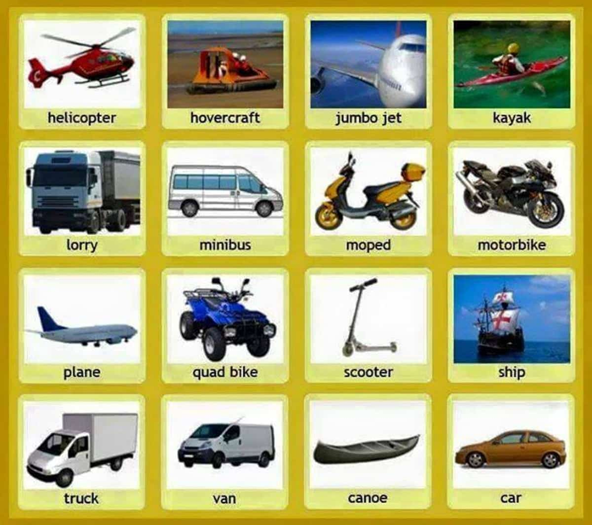 Common Vehicles and Modes of Transportation Vocabulary 3