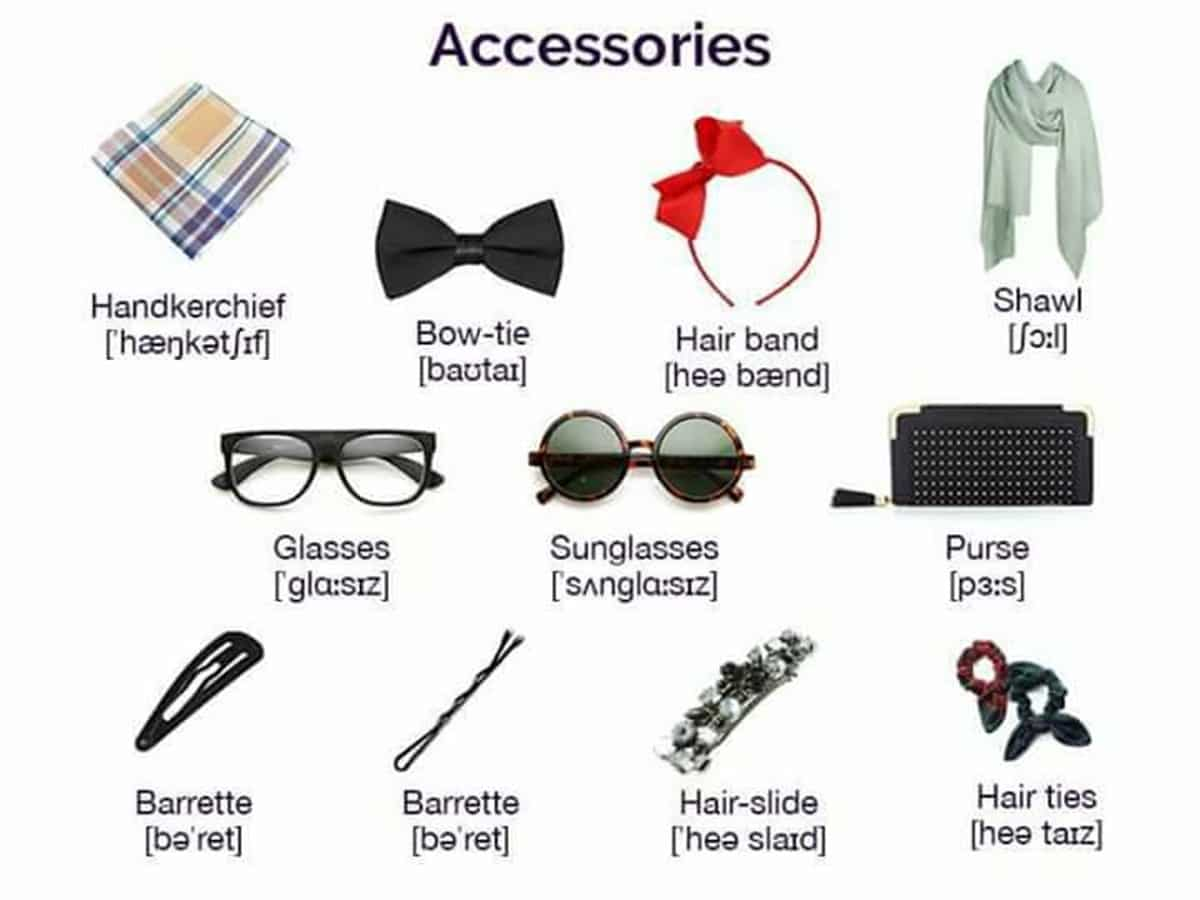 """Clothes and Fashion Accessories"" Vocabulary in English: 100+ Items Illustrated 4"