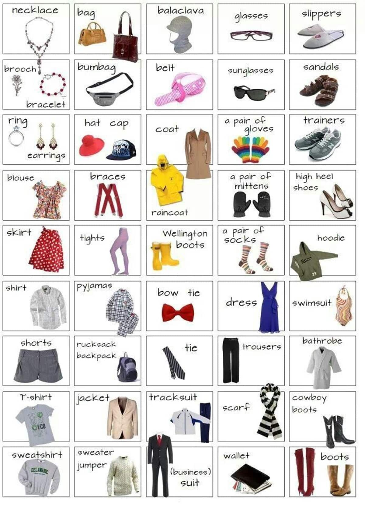 Clothes and Accessories Vocabulary