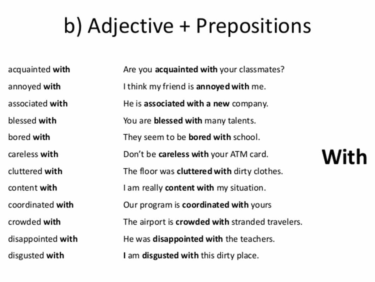 Preposition Combinations