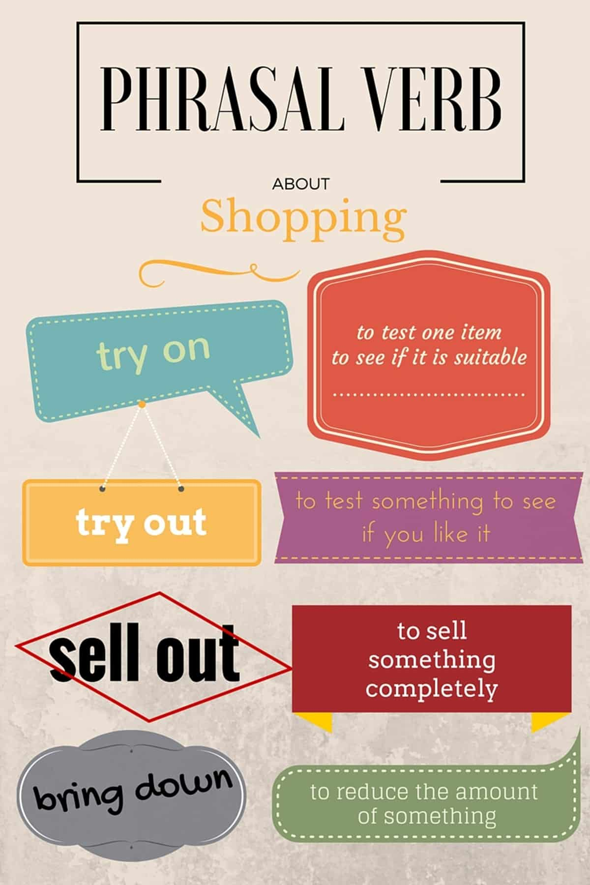 Phrasal Verbs for SHOPPING