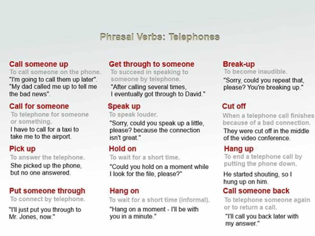 Phrasal Verbs: Telephone