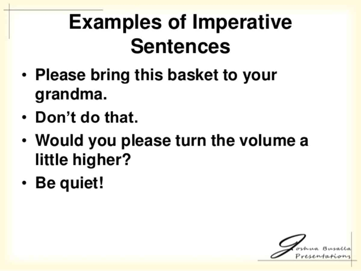 examples of Imperative Sentence