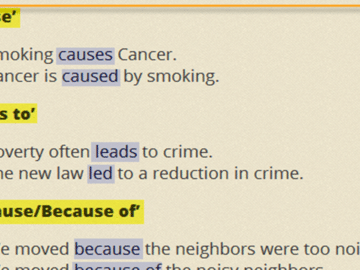 Linking Words and Phrases in English: Reasons and Results 16
