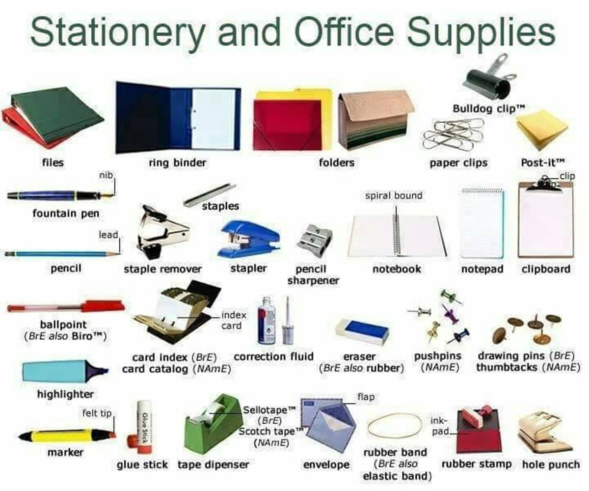 Office Supplies Vocabulary In English