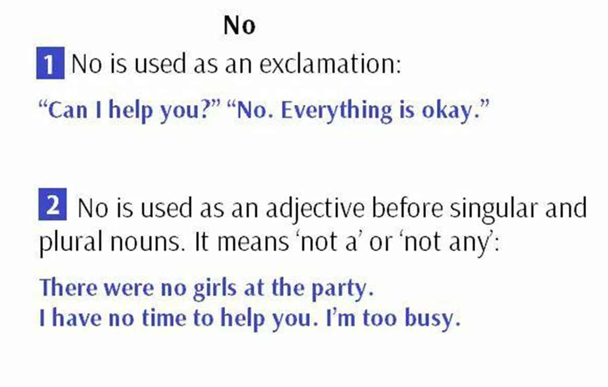 "When to Use ""No"""