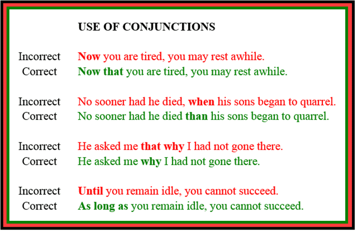 Common Mistakes in the Use of English Conjunctions