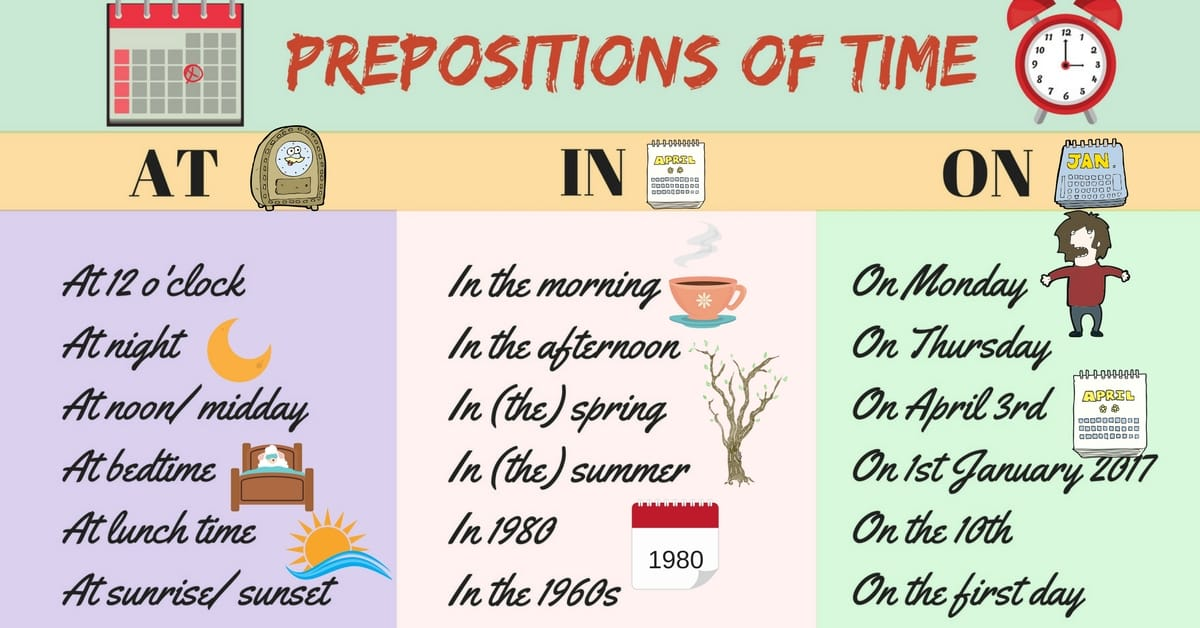 How to Use Prepositions of Time - AT / IN / ON 1