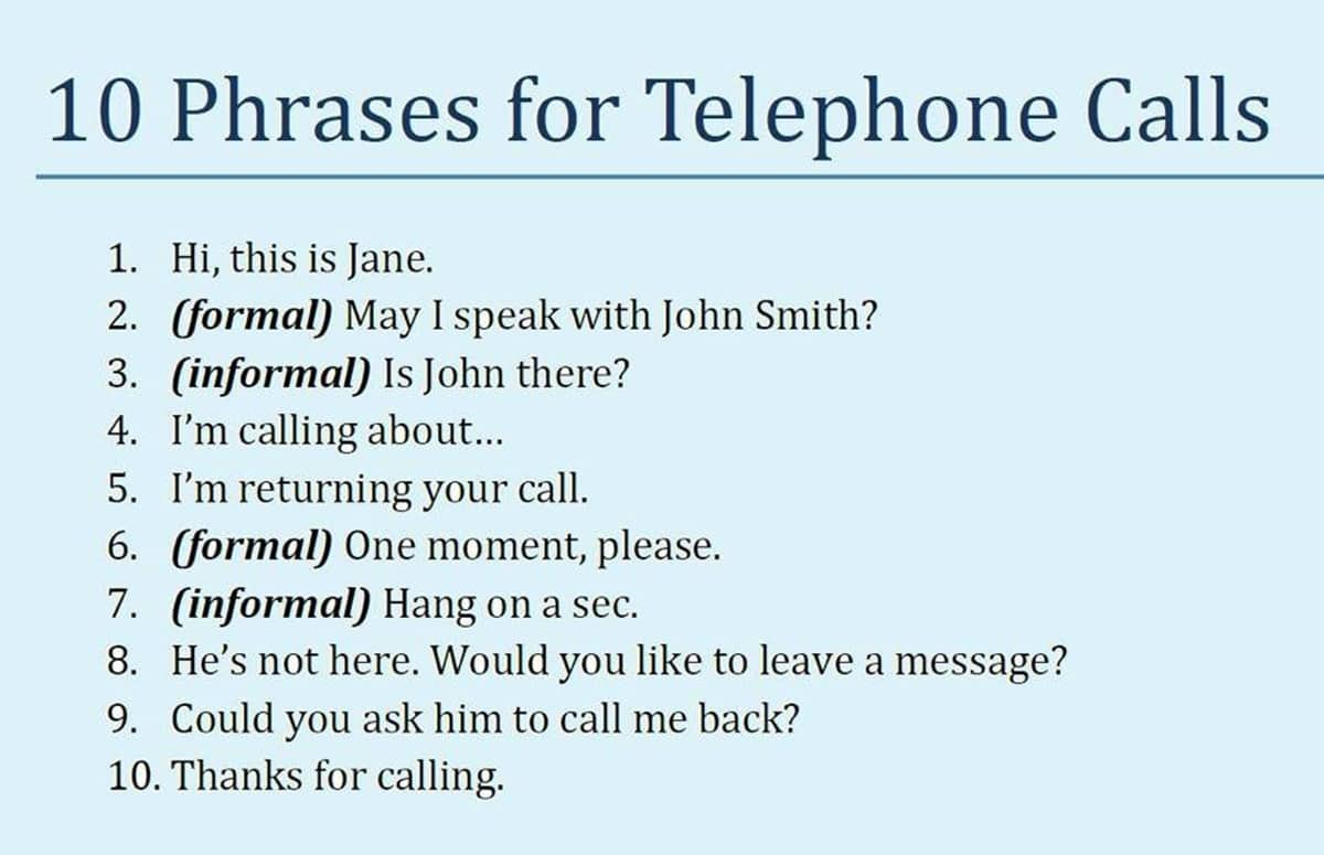 "Phrases for ""Telephone Calls"""