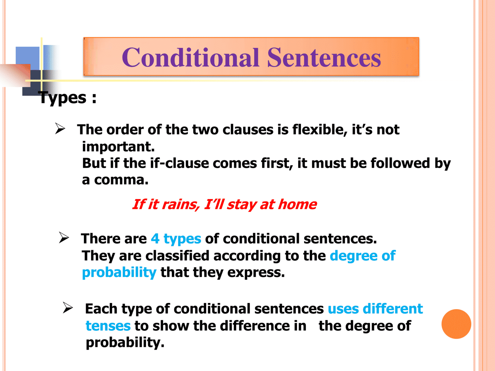 Types of Conditionals