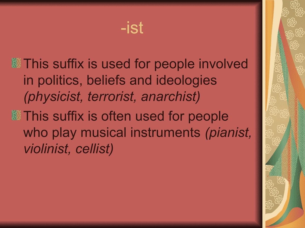 Suffix -ist