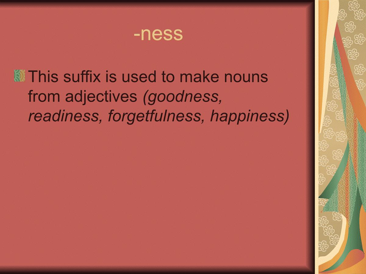 Suffix -ness