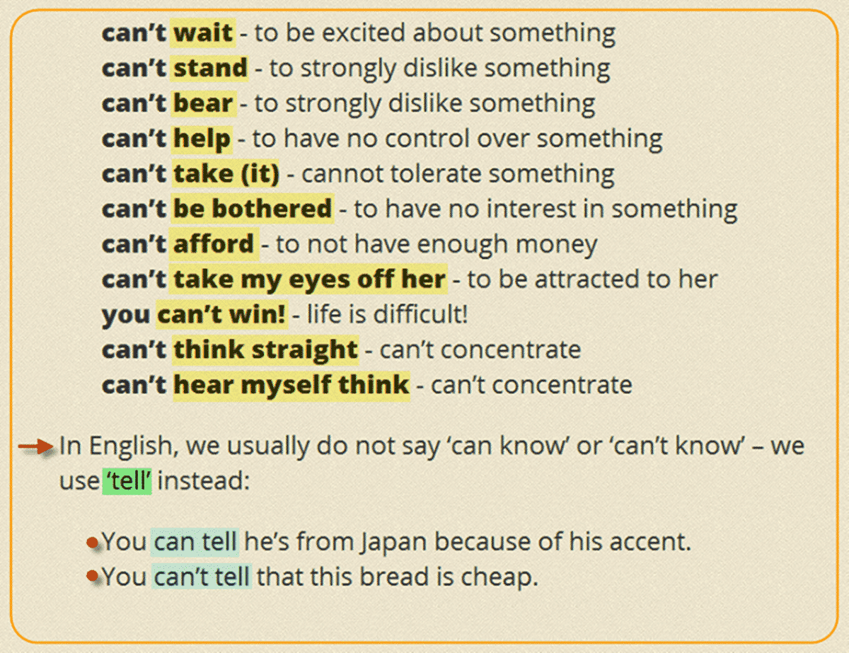 Collocations with CAN'T