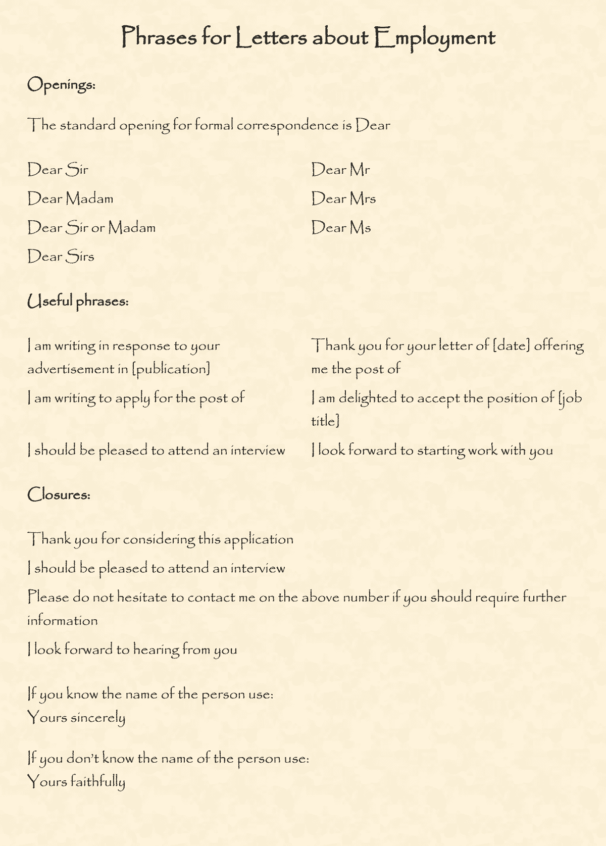 Phrases and Vocabulary for Writing Letters