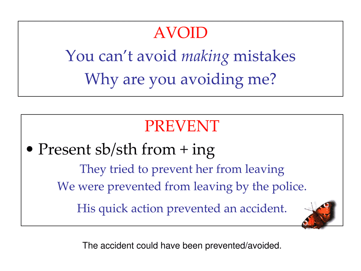 AVOID vs. PREVENT