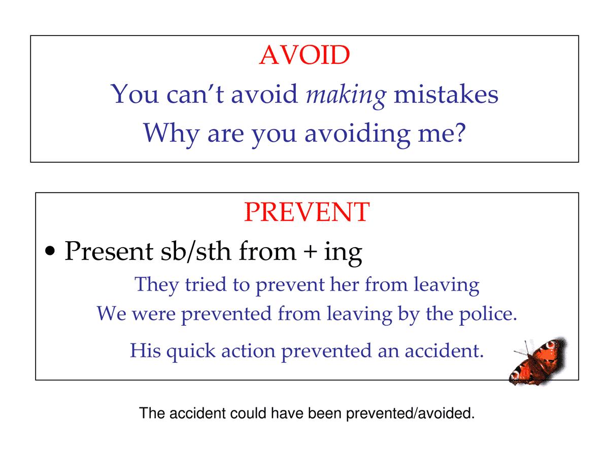 AVOID vs. PREVENT