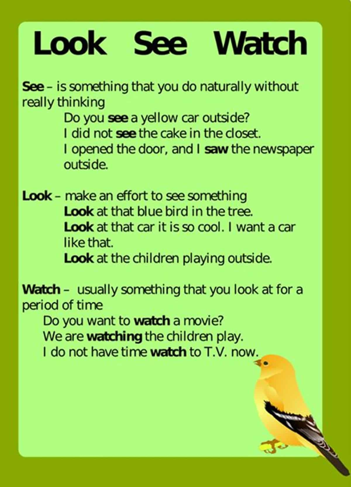 Difference between LOOK, SEE and WATCH