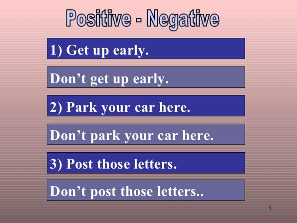 positive - negative imperative