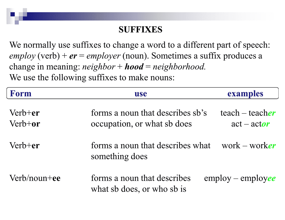 Common Noun Suffixes
