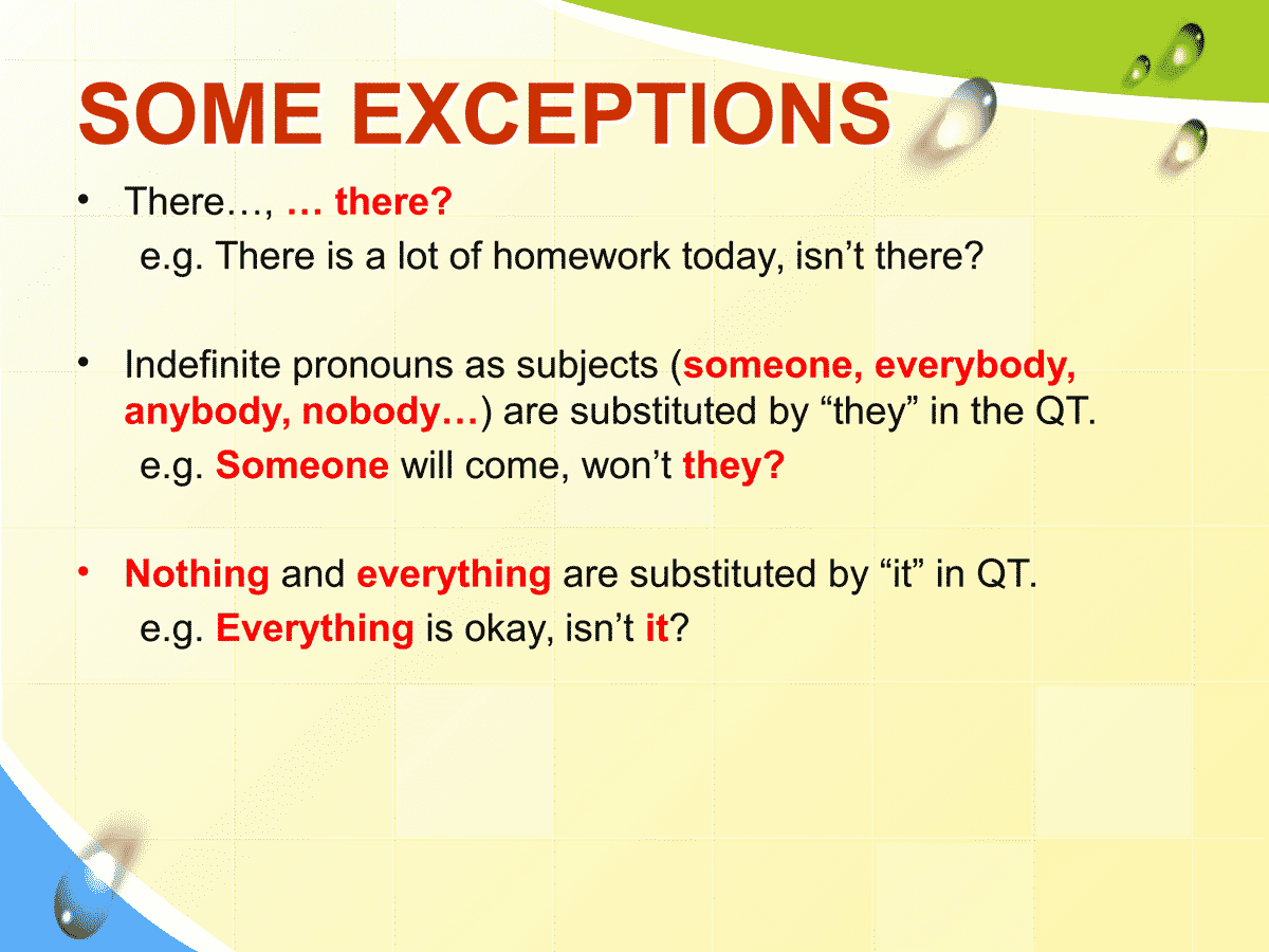 Some Exceptions in Forming Question Tags