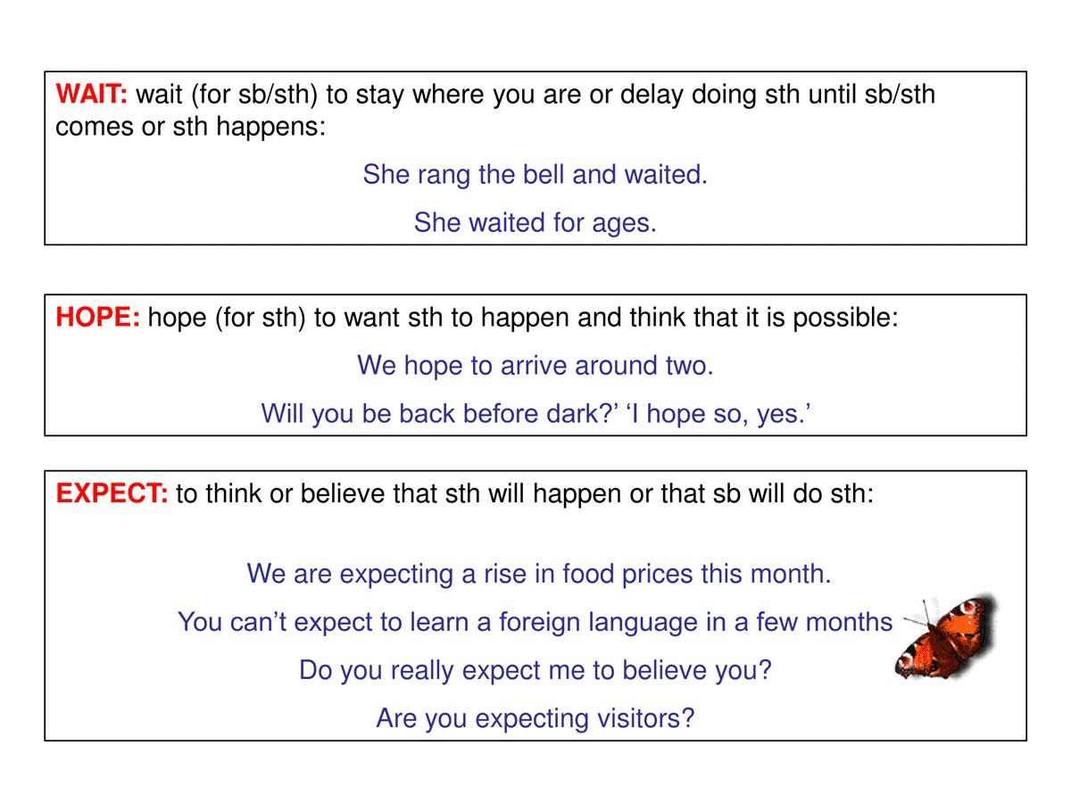 WAIT vs. HOPE vs. EXPECT