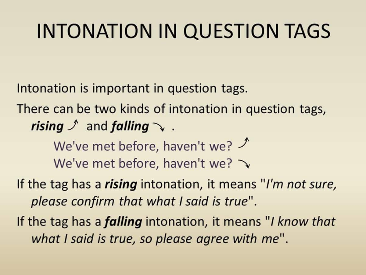 Question Tag Intonation