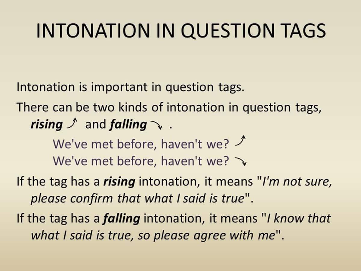 Question Tag Intonation