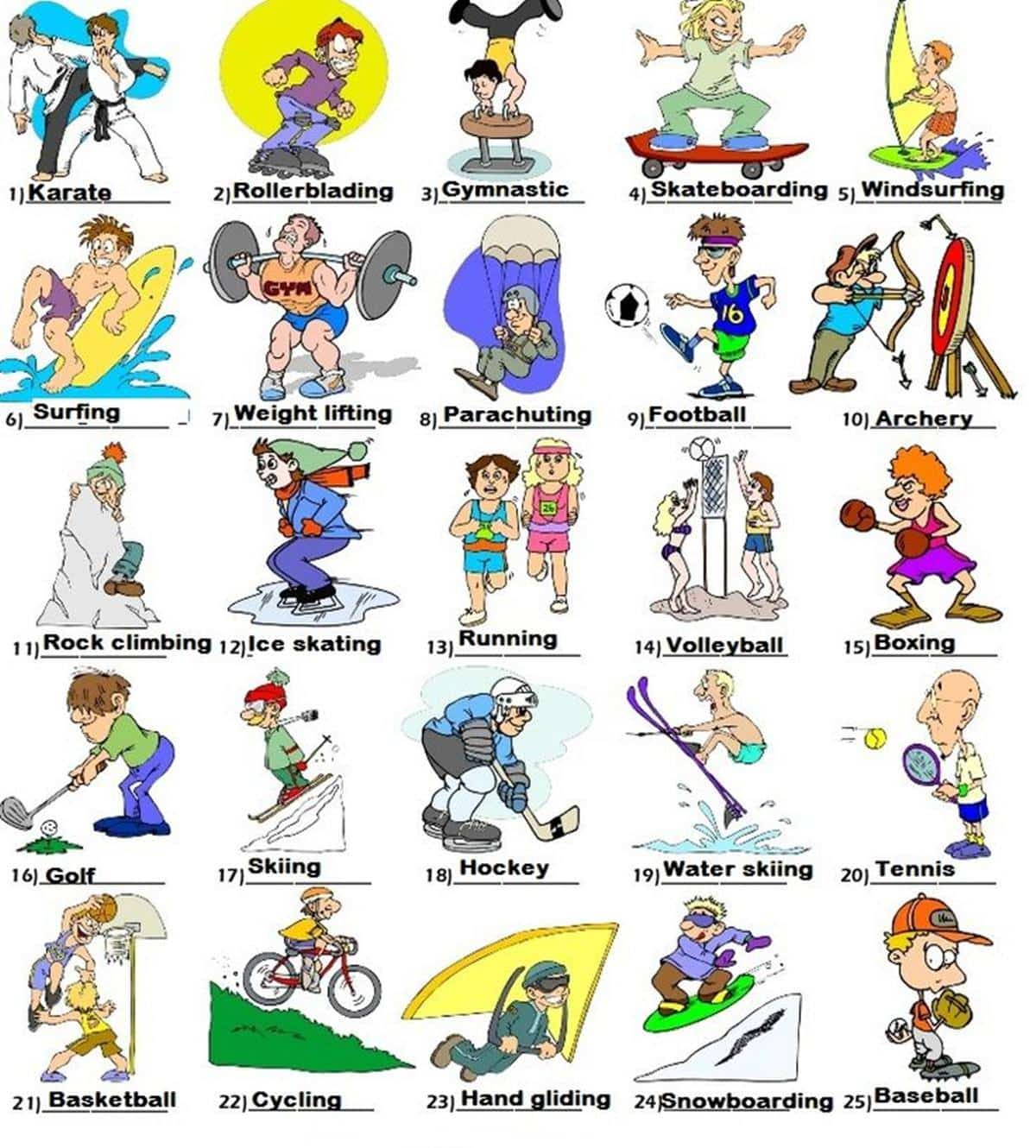 Outdoor Activities Vocabulary in English 14