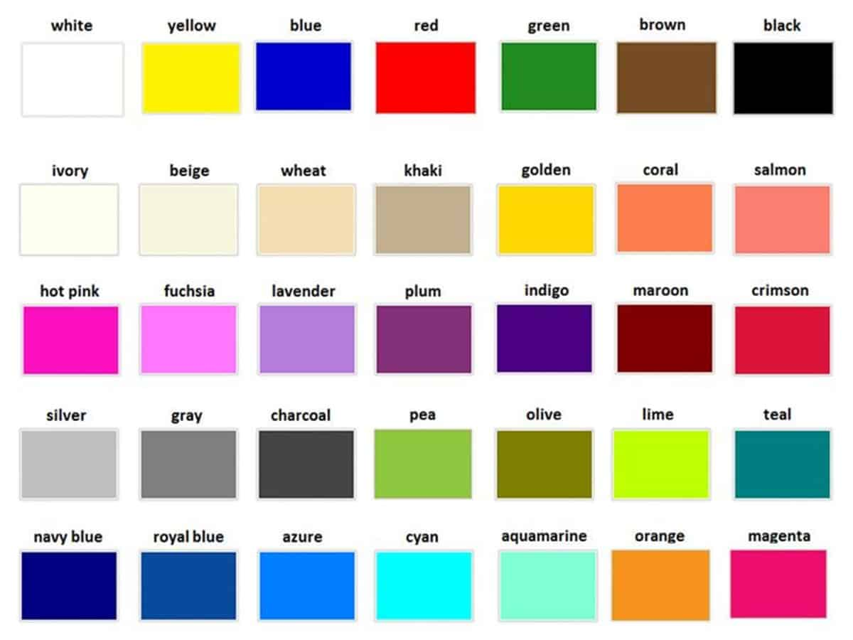 Learn English Vocabulary: Colours/ Colors 1