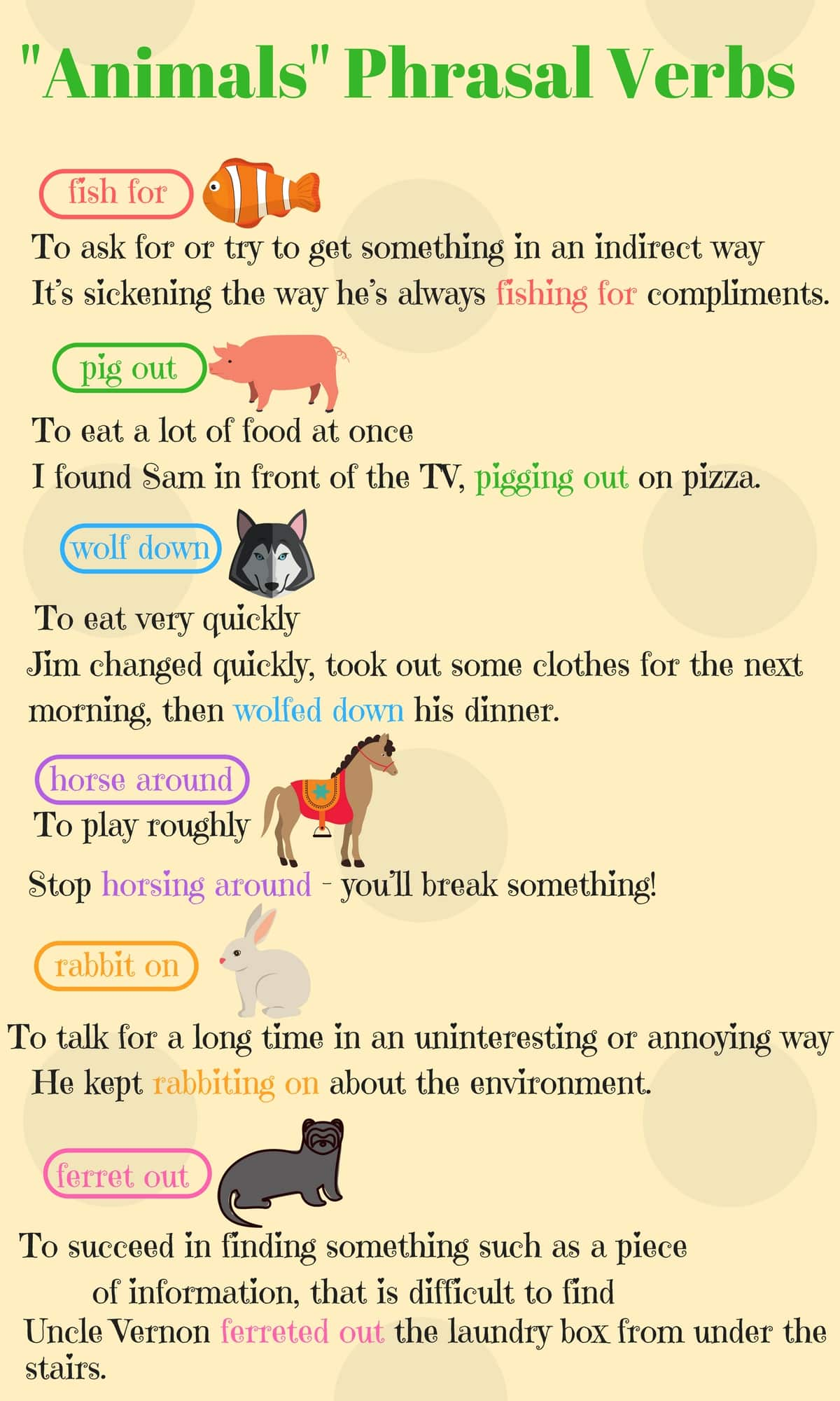 Useful ANIMALS Phrasal Verbs