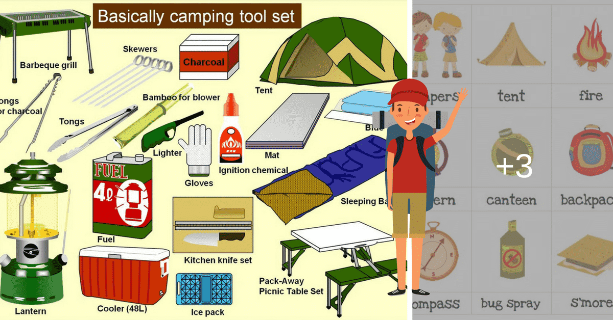 English Vocabulary: Camping Tool Set 3