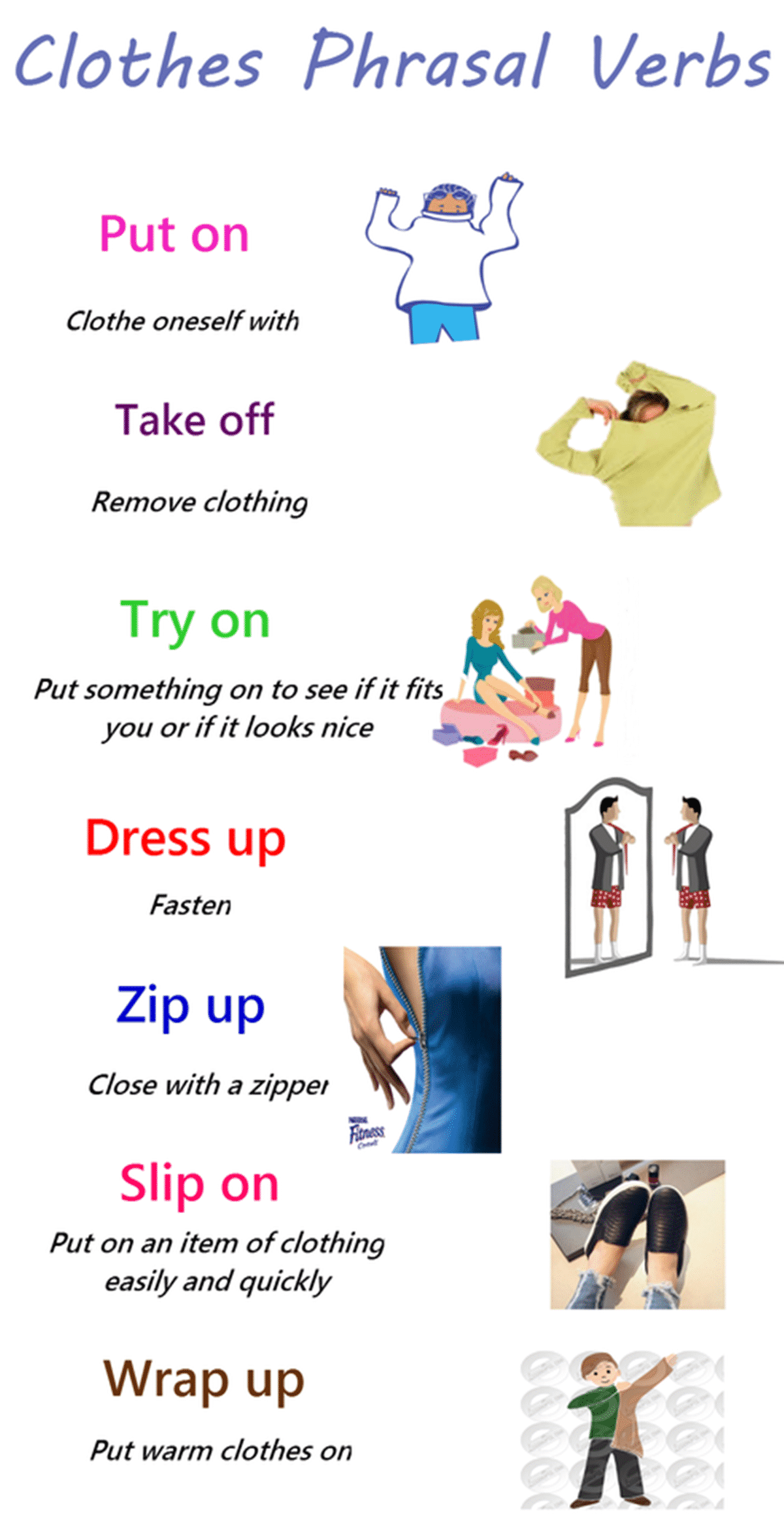 Useful Phrasal Verbs Relating to Clothes