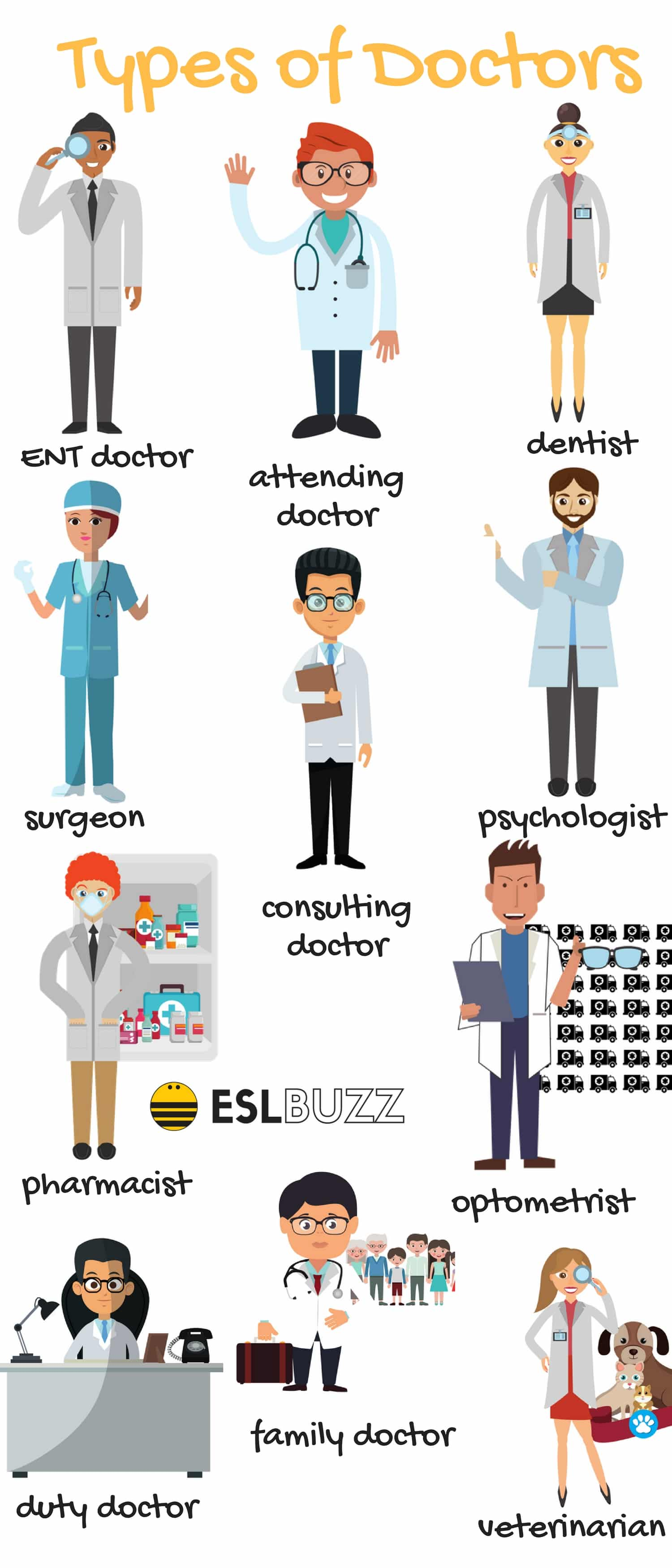English Vocabulary: Different Types of Doctors