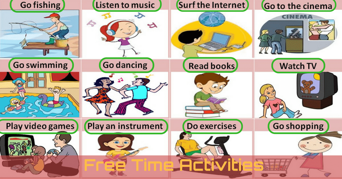 Free Time and Leisure Activities Vocabulary in English 6