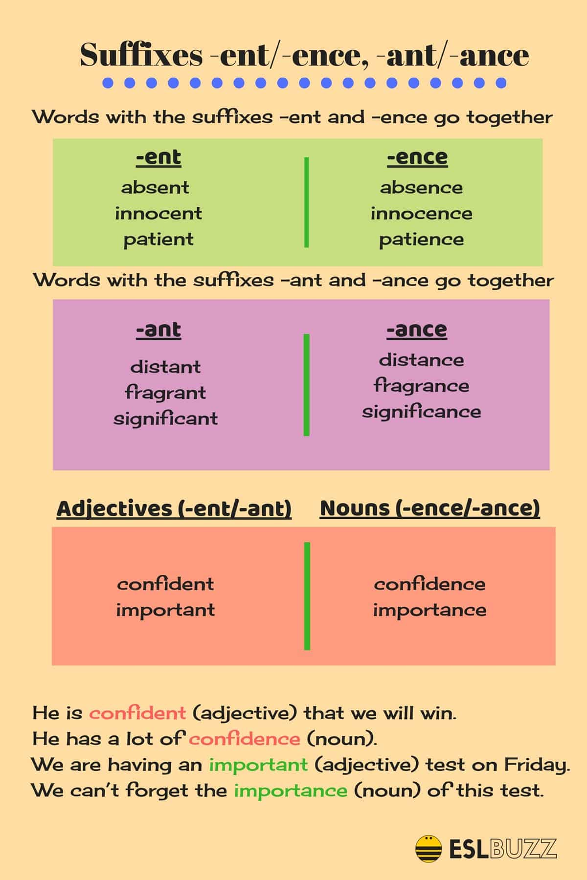 """Words Ending with Suffixes """"-ent/-ence"""" and """"-ant/-ance"""""""