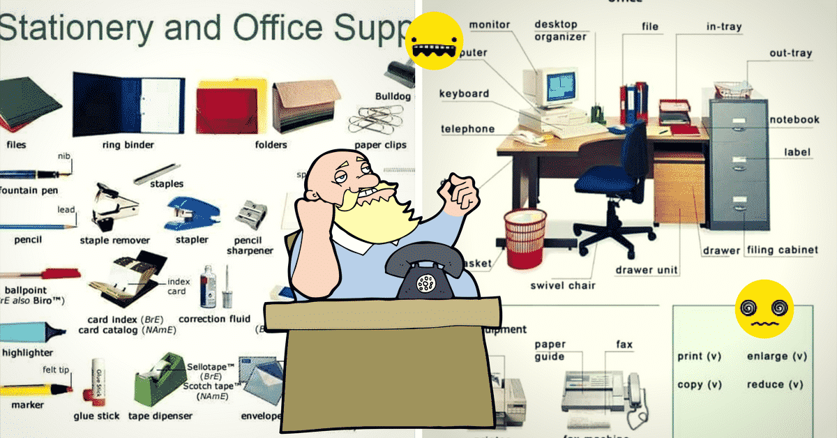 Stationery and Office Supplies Vocabulary in English 8