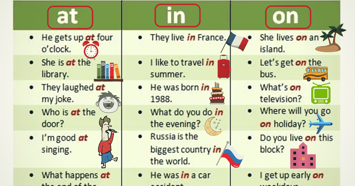 At, IN and ON: Prepositions of Time and Place 6