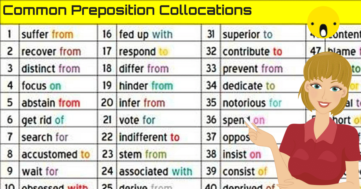 100+ Popular Preposition Collocations with ESL Images in English 2