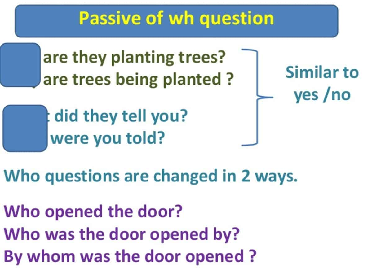 Passive Voice with Wh/ H-Questions