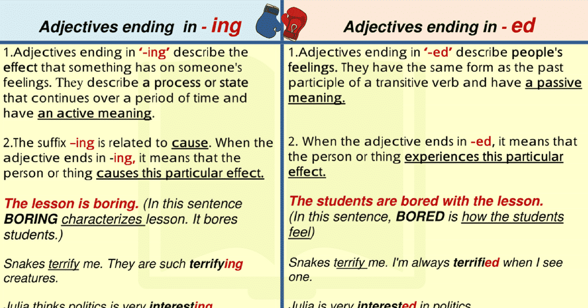 List of Words Ending in ING and ED in English 7