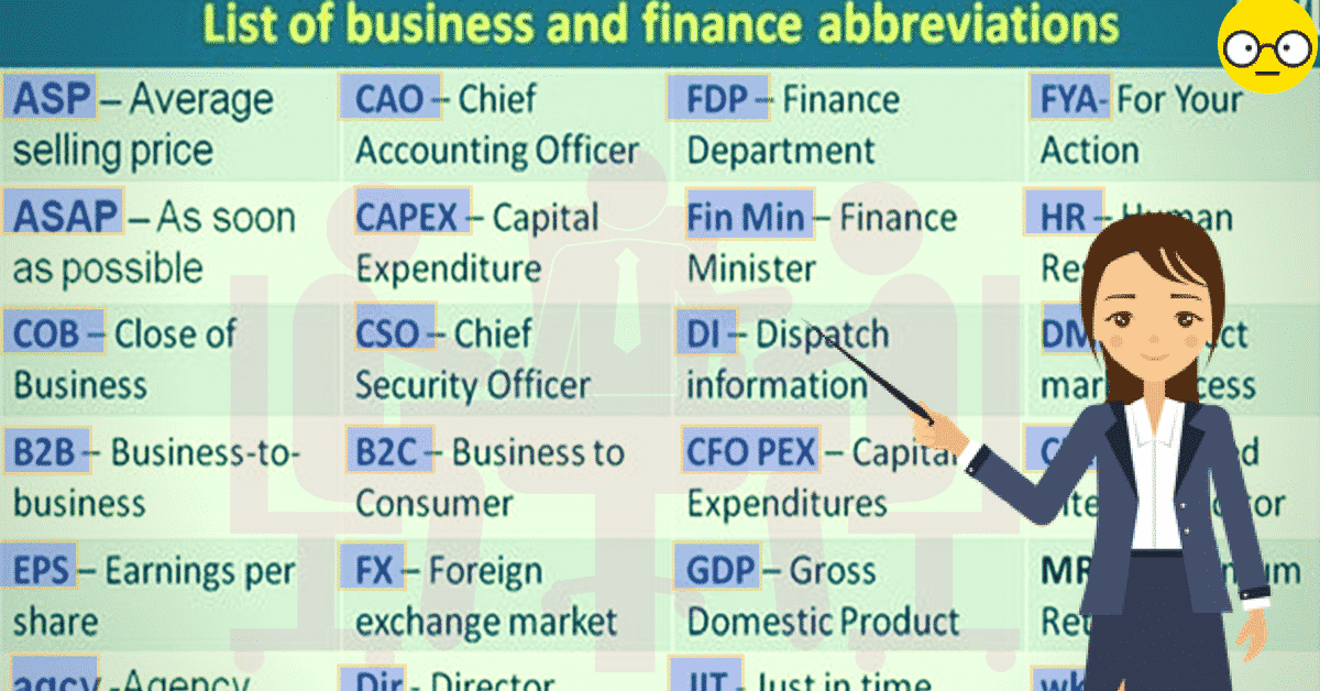 100+Popular Business and Finance Abbreviations You Should Know 17