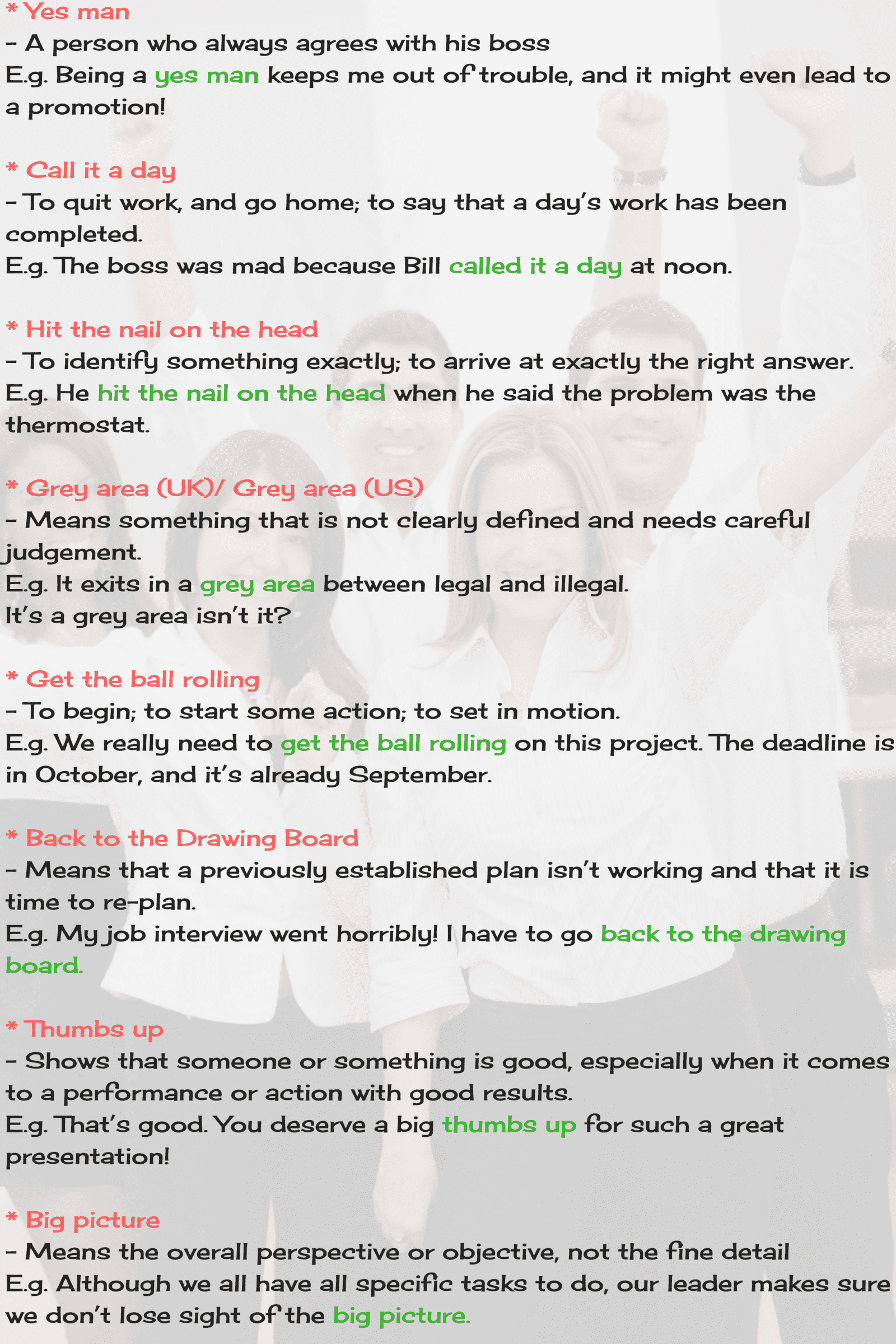 Business Idioms and Phrases