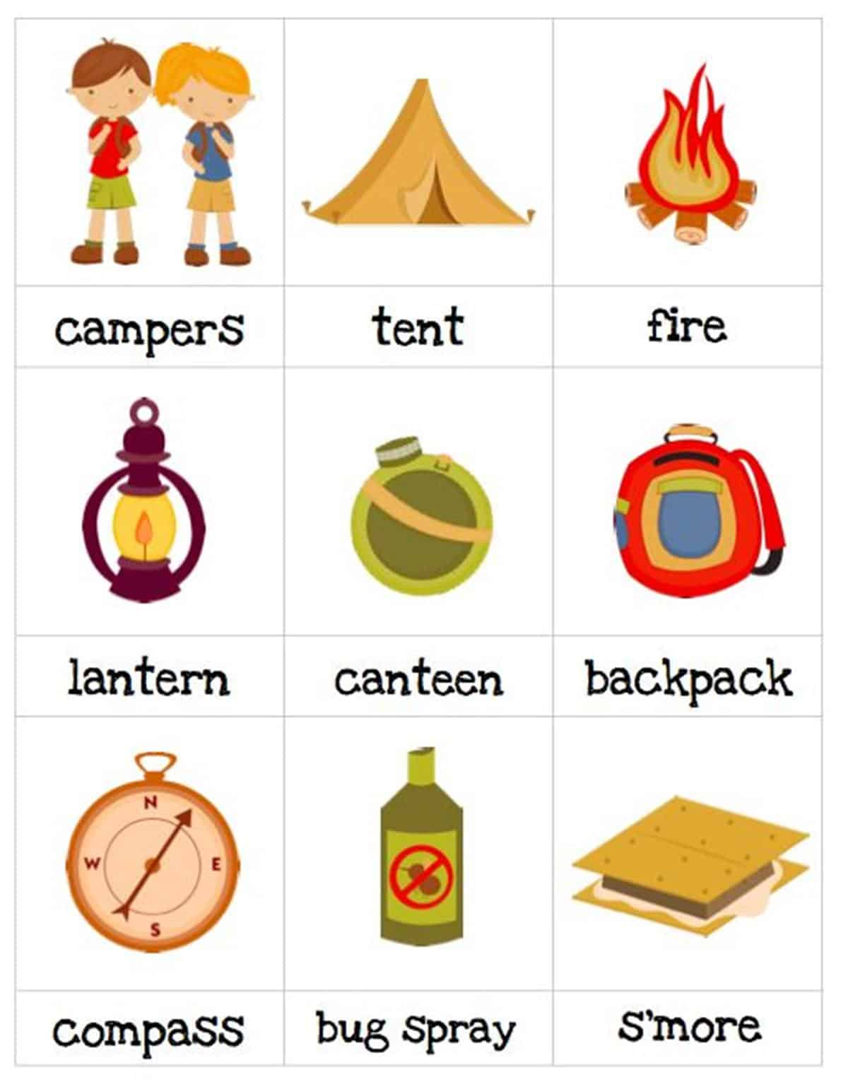 English Vocabulary: Camping Tool Set 1