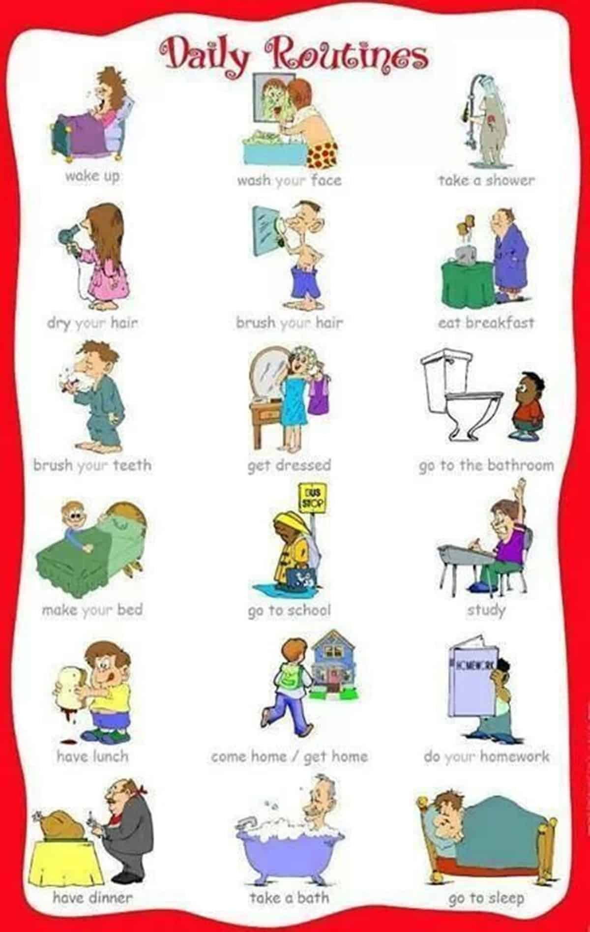 Daily Routines and Household Chores Vocabulary in English 1