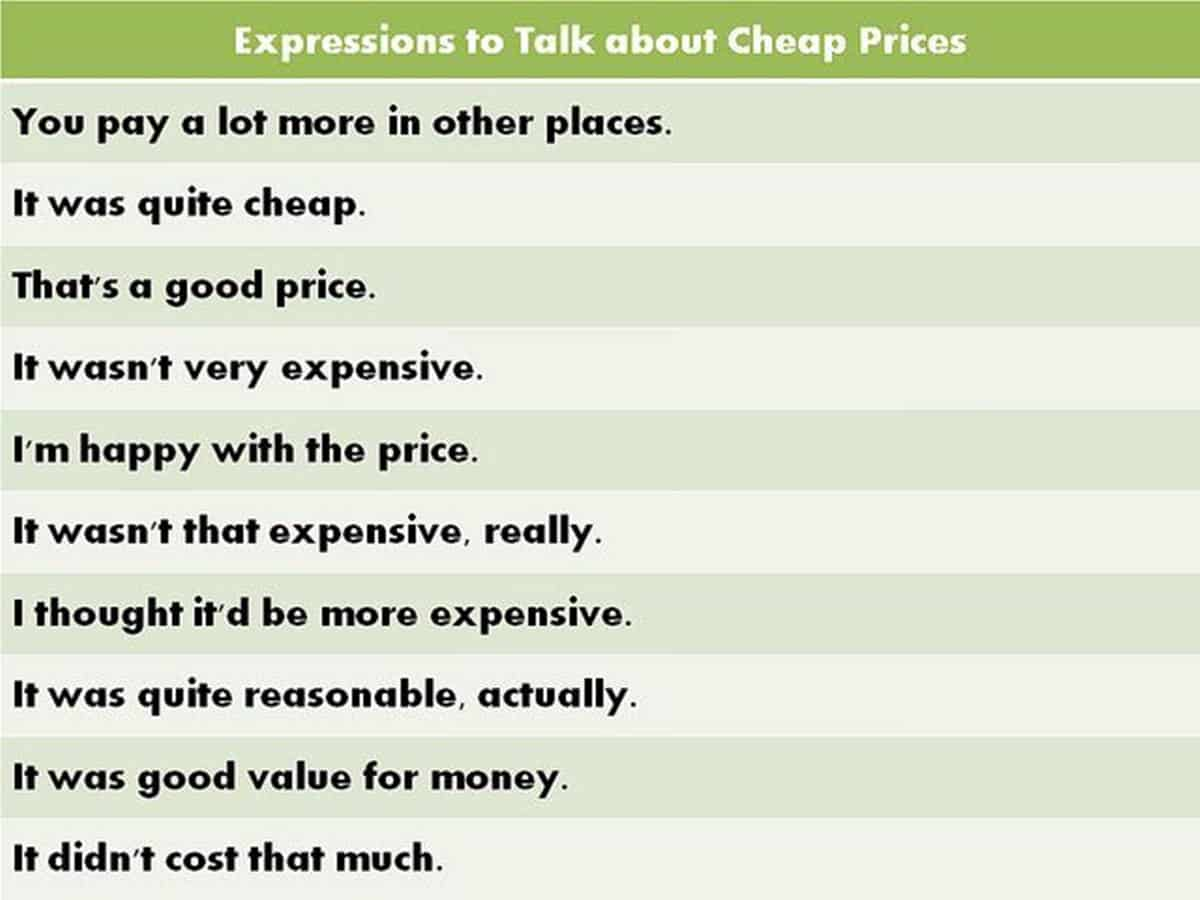 20+ English Expressions for Talking about Price 1