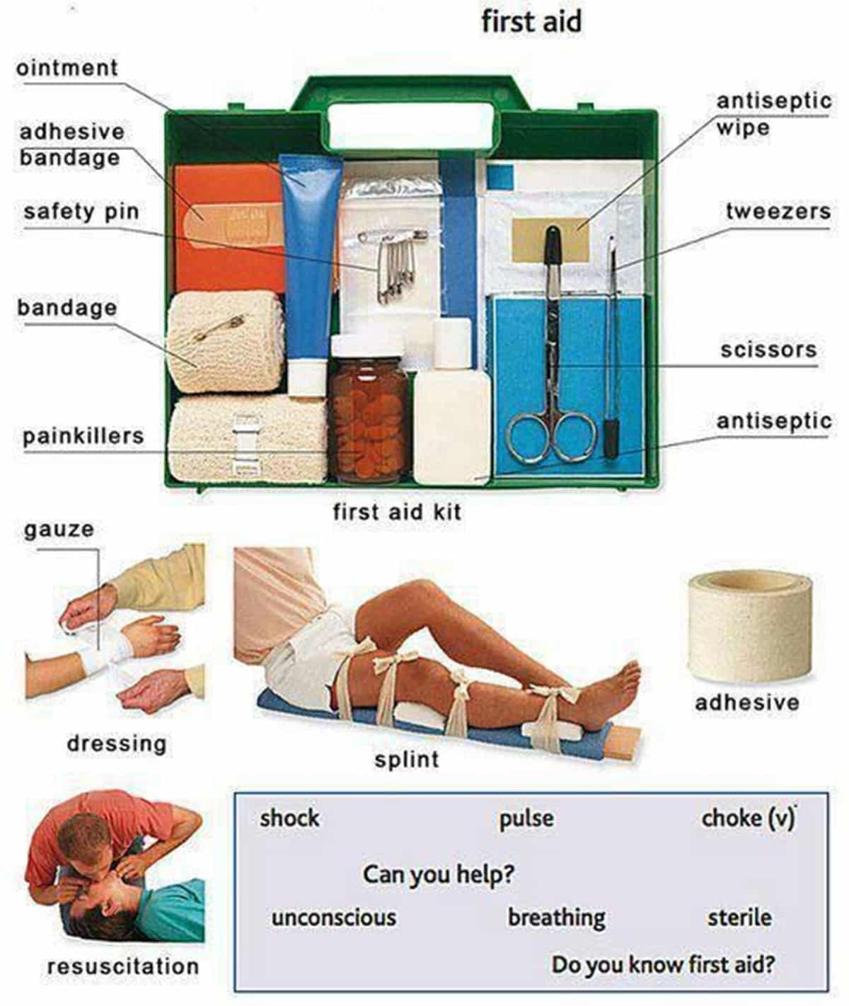 First Aid Kit Vocabulary in English 1