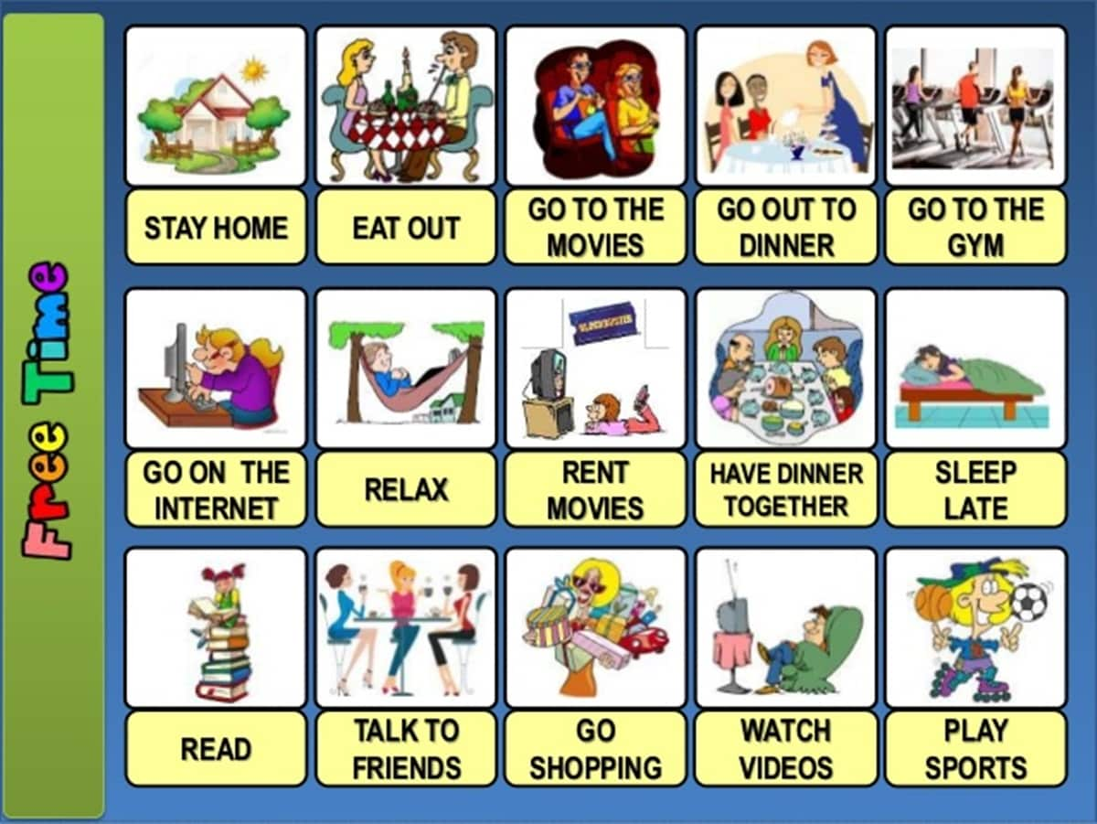 Free Time and Leisure Activities Vocabulary in English 14