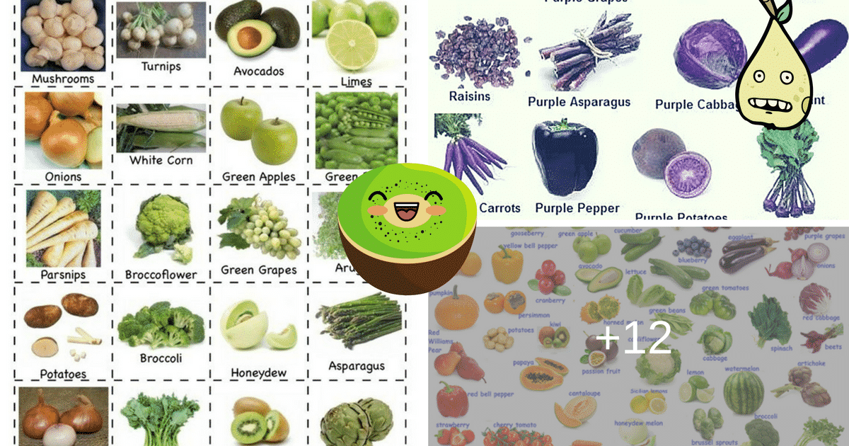 Fruits and Vegetables Vocabulary in English 6